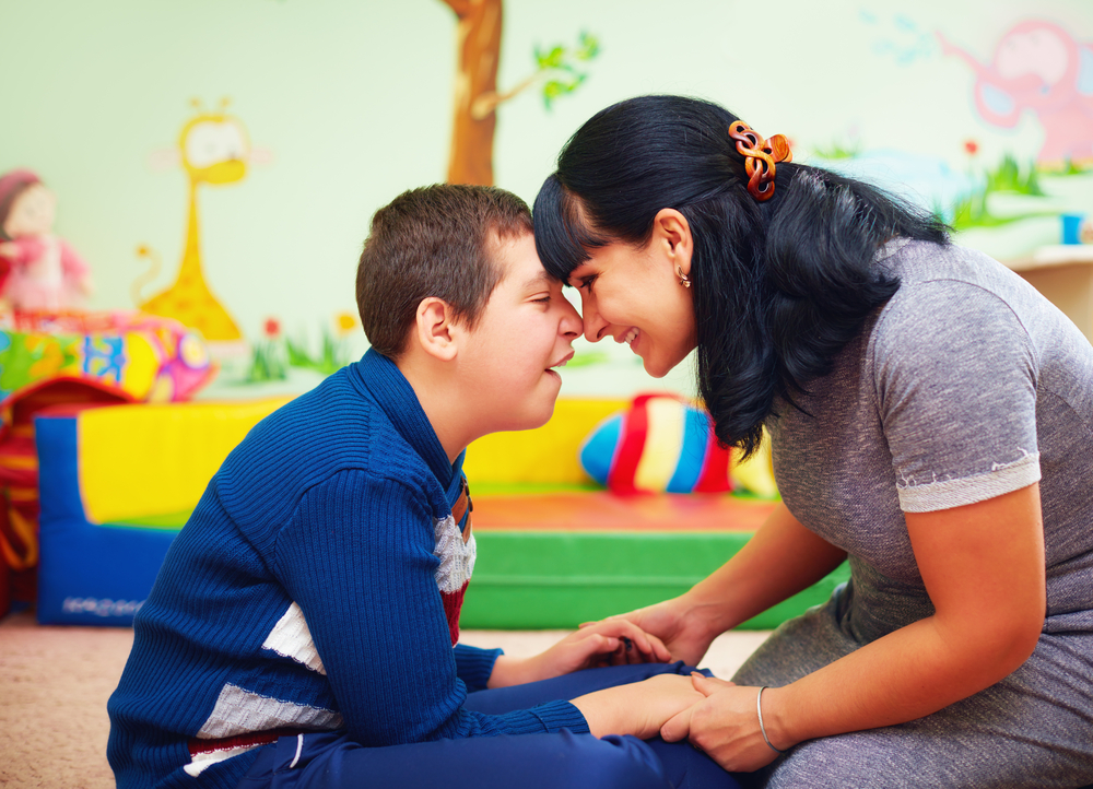 special needs child and mother